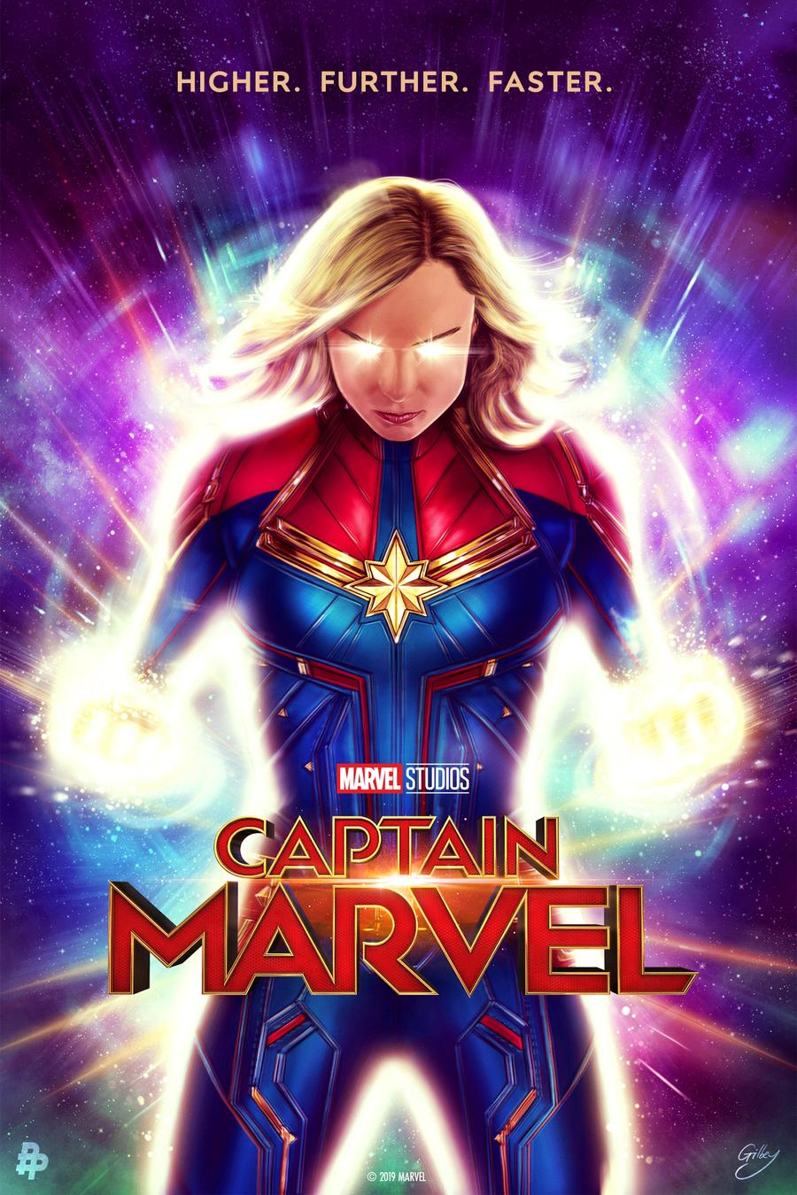 Captain Marvel Poster Art by Sam Gilbey