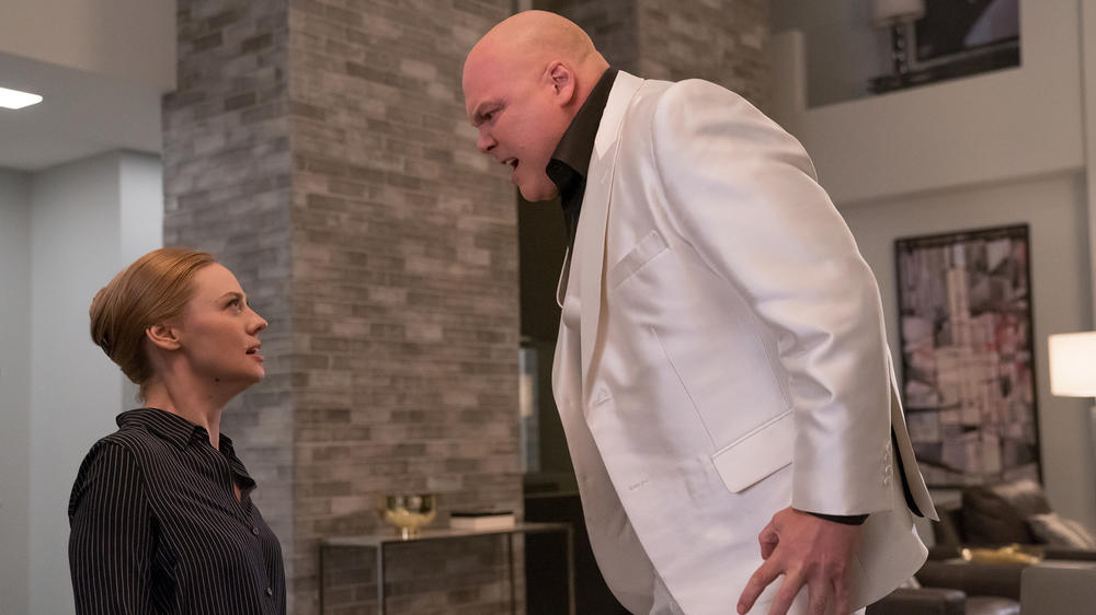 "Karen Page (Deborah Ann Woll) faces off with Wilson Fisk (Vincent D'Onofrio) in ""Marvel's Daredevil"" Season 3"