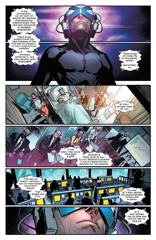 HOUSE OF X #6 page three by Pepe Larraz, Marte Gracia, David Curiel, and VC's Clayton Cowles
