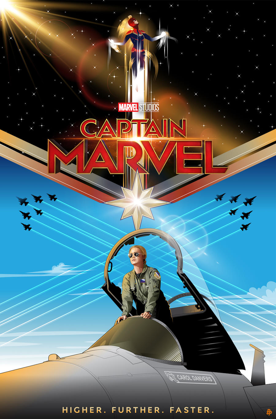 Captain Marvel Poster Art by Cryssy Cheung