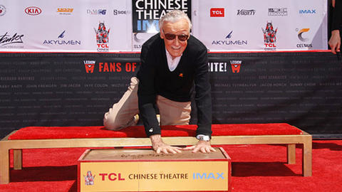 Image for Stan Lee Puts Handprints and Footprints in Cement at TCL Chinese Theatre IMAX Forecourt