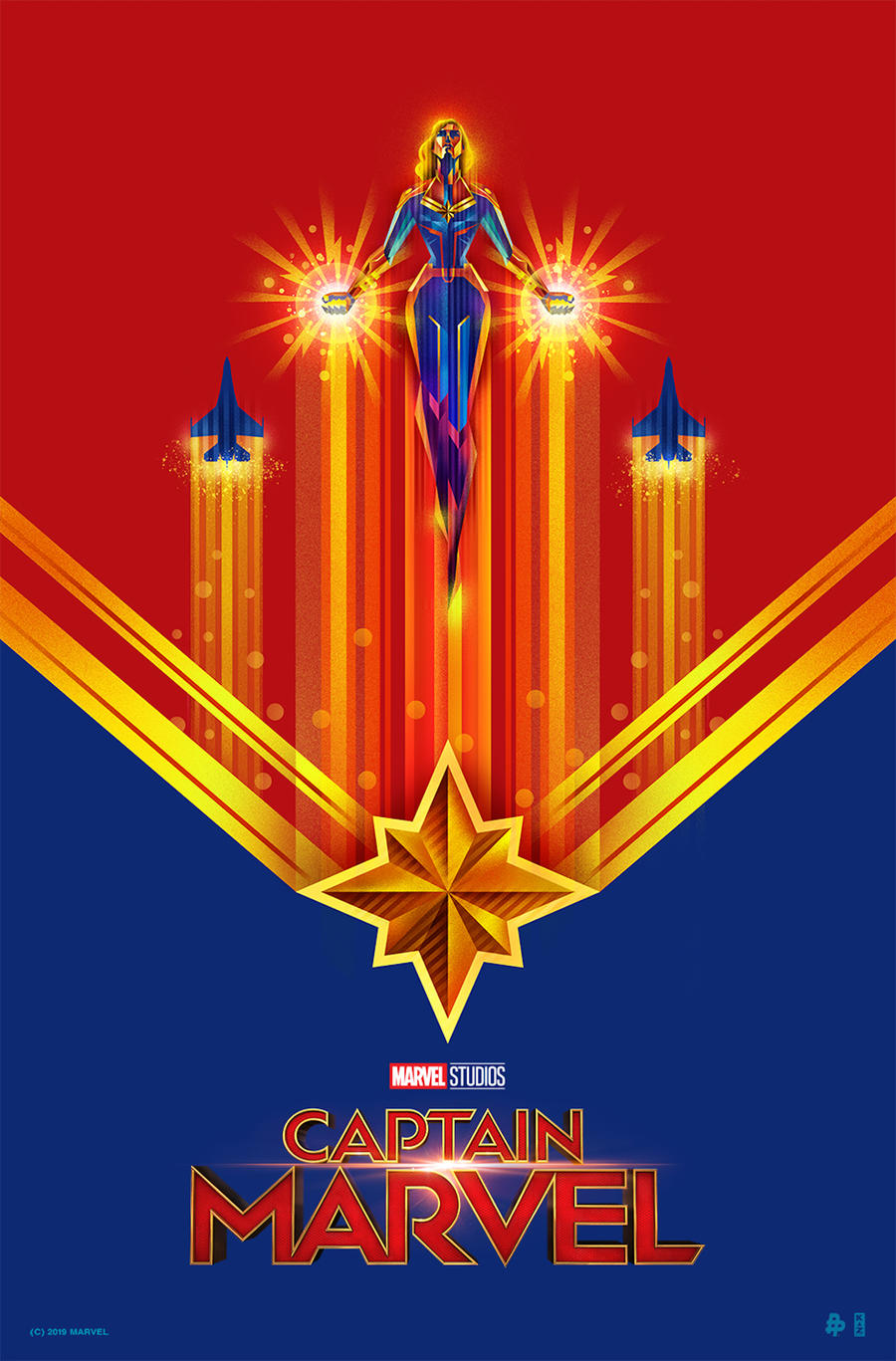 Captain Marvel Poster Art by Kaz Oomori