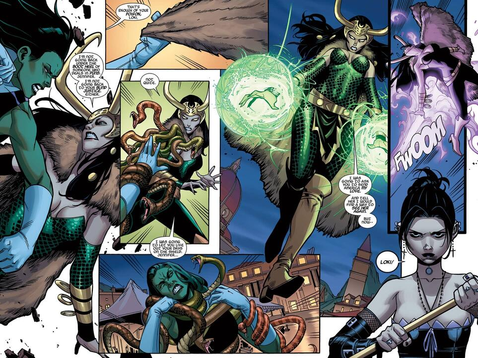 Loki attacks in A-FORCE (2015) #4.