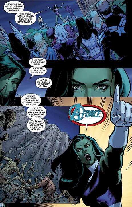 She-Hulk, master of the motivational in A-FORCE (2015) #5.