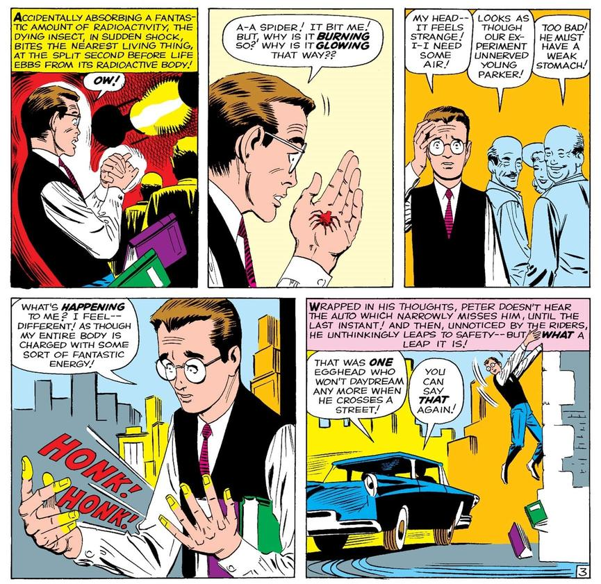 The first appearance of Spider-Man in Amazing Fantasy #15!