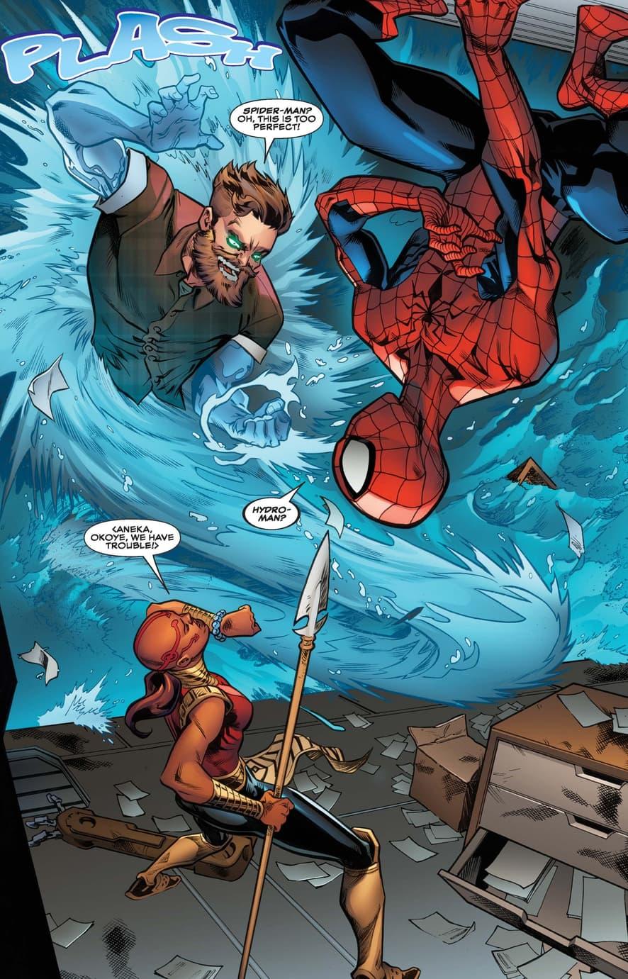 Ayo saves the day in AMAZING SPIDER-MAN: WAKANDA FOREVER (2018) #1.