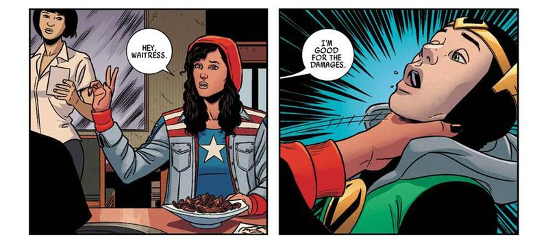 "Marvel NOW! Point One (2012) #1 ""Hey waitress...I'm good for the damages."" America Chavez"