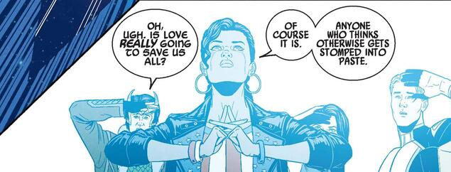 "YOUNG AVENGERS (2013) #13 ""Oh, ugh. Is love REALLY going to save us all?"" Loki ""Of course it is. Anyone who thinks otherwise gets stomped into paste."" America Chavez"