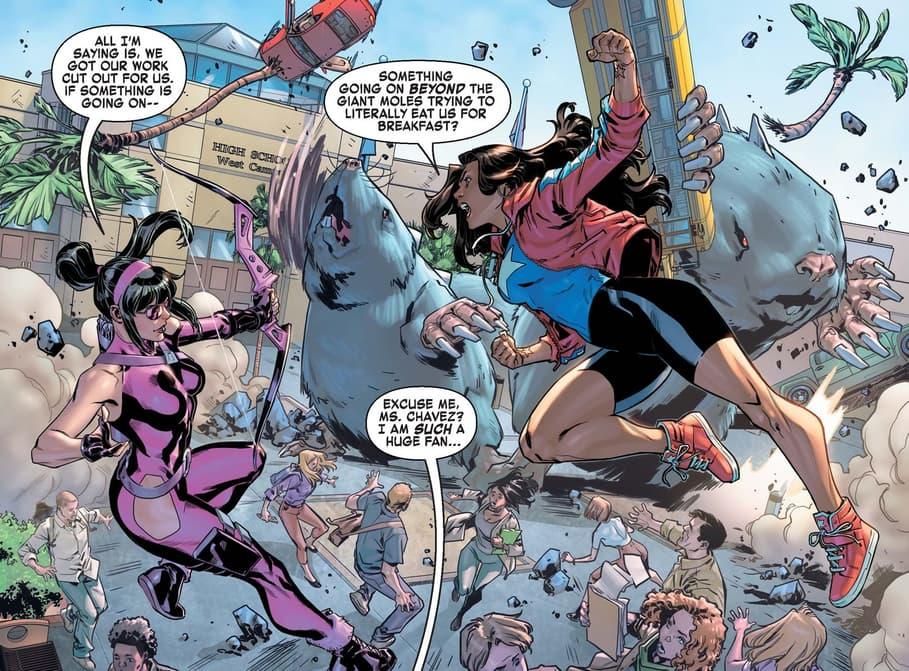 America Chavez and Kate Bishop versus giant moles.