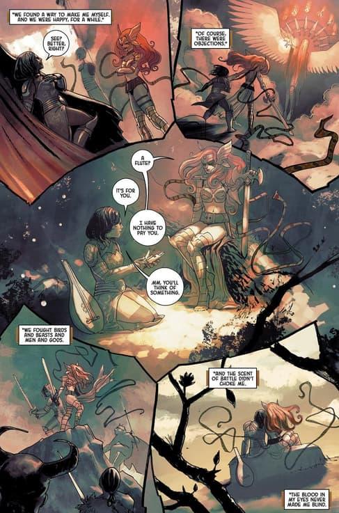Angela helps Sera become her true self in ANGELA: ASGARD'S ASSASSIN (2014) #3.