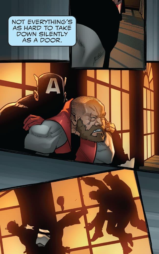 Captain America sneaks around a corner.