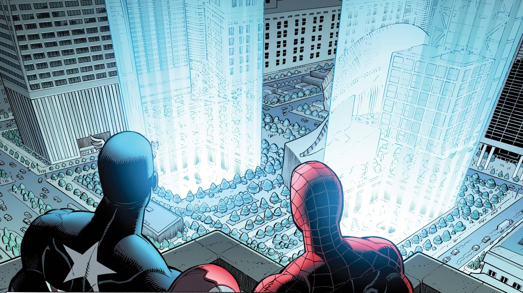 Spider-Man and Captain America pay respect to the fallen victims and heroes of 9/11.