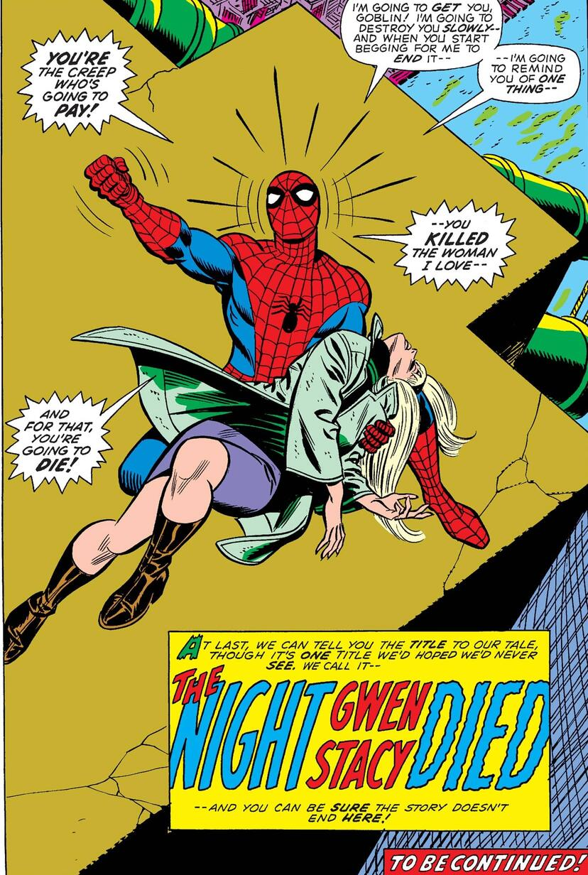 The death of Gwen Stacy in THE AMAZING SPIDER-MAN (1963) #121.