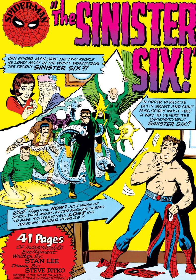 The first appearance of the Sinister Six in AMAZING SPIDER-MAN ANNUAL (1964) #1.
