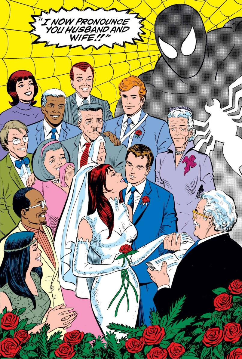 The wedding of MJ and Peter Parker in AMAZING SPIDER-MAN ANNUAL (1964) #21.