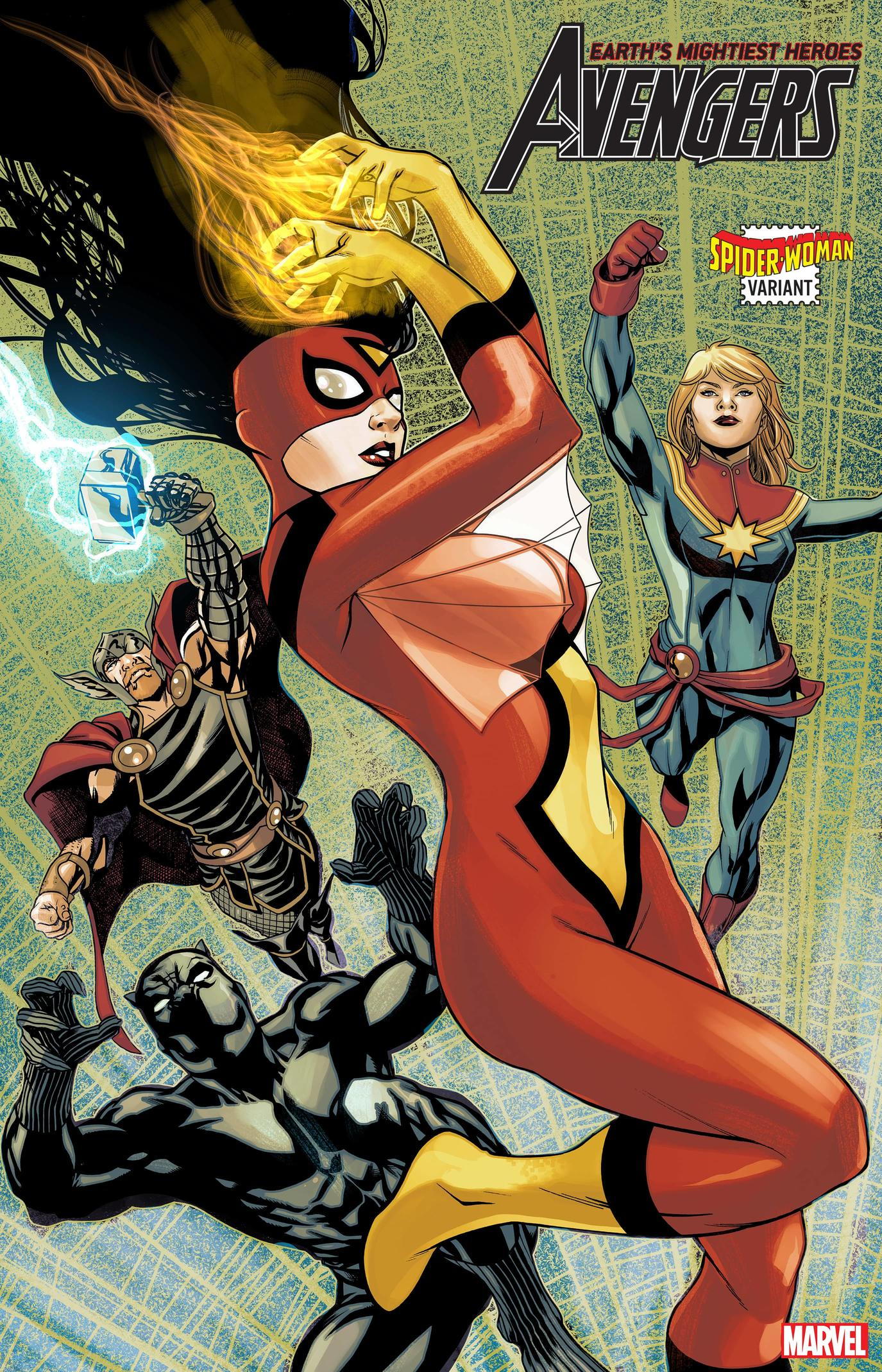 AVENGERS #32 SPIDER-WOMAN VARIANT by MIKE McKONE with colors by ANDRES MOSSA