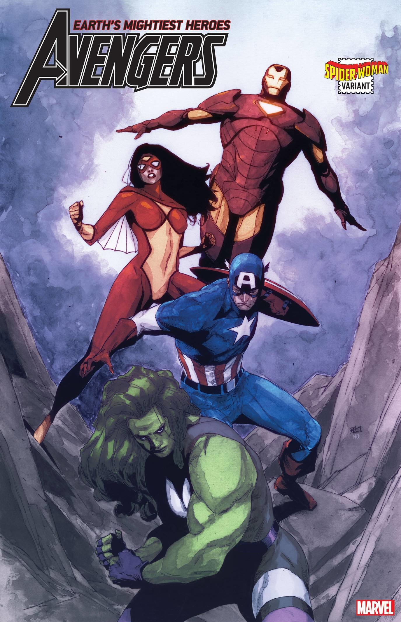 AVENGERS #33 SPIDER-WOMAN VARIANT by KHOI PHAM with colors by MORRY HOLLOWELL