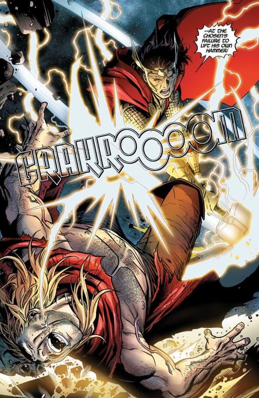 Loki wielding Mjolnir