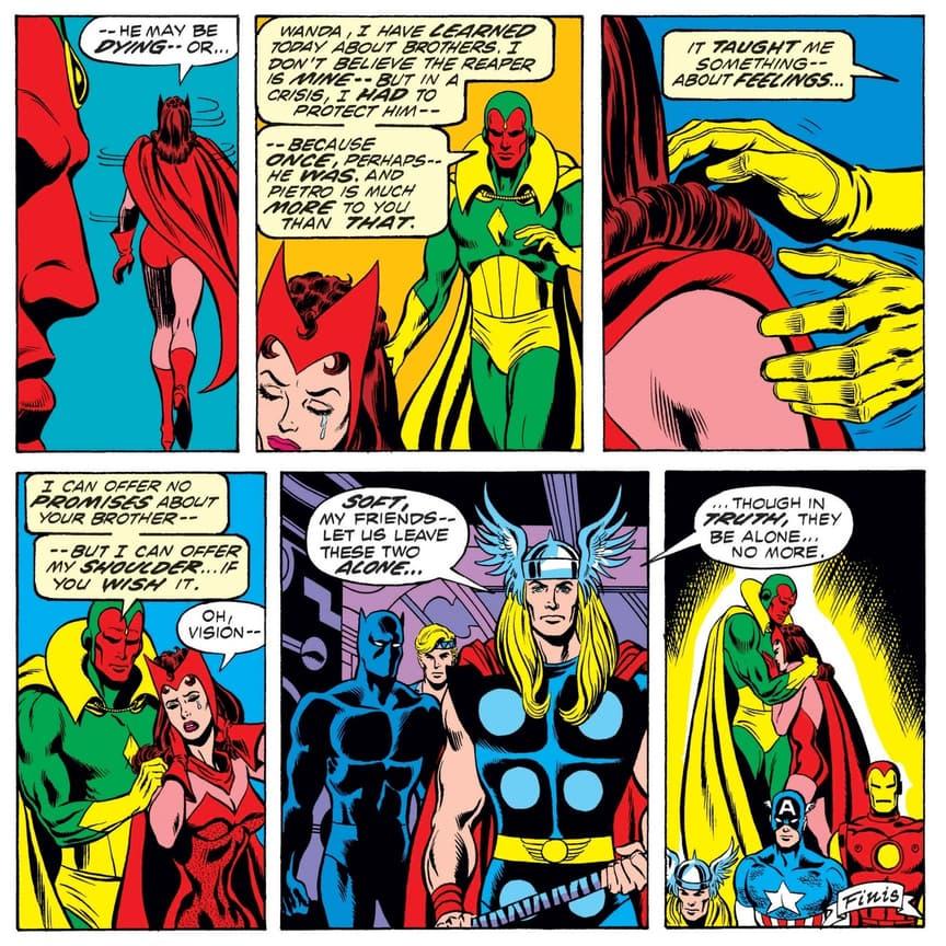 Vision comforts Wanda.