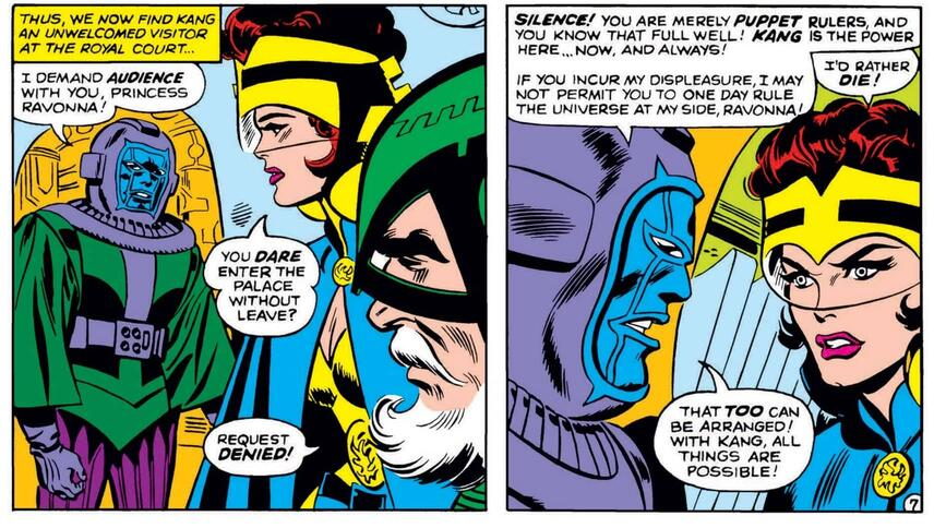 Kang makes a hasty proposal to Ravonna in AVENGERS (1963) #23.
