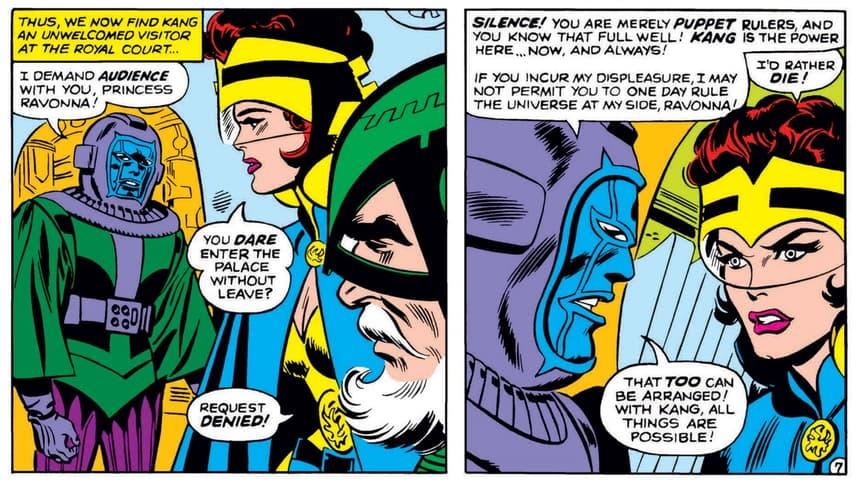 Kang's meeting with Princess Ravonna in AVENGERS (1963) #23.