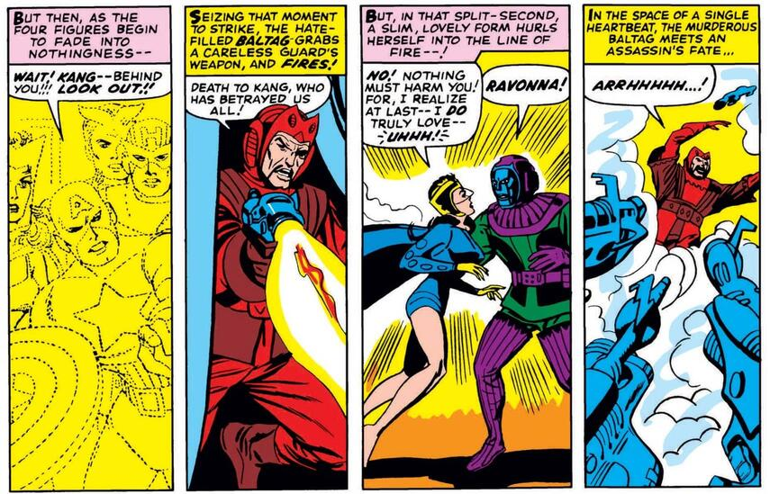The death of Ravonna in AVENGERS (1963) #24.