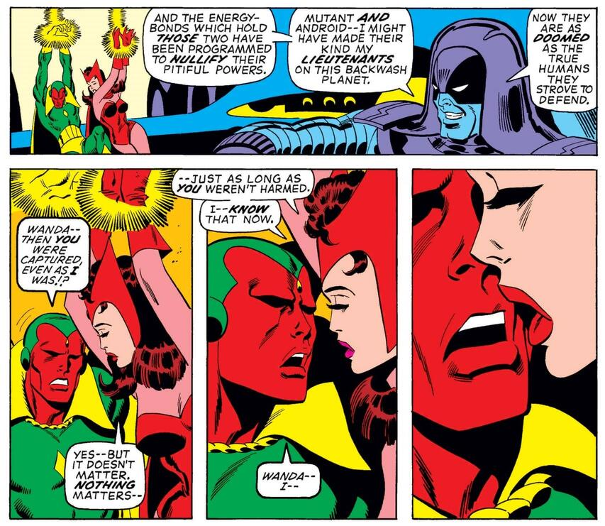 Vision rejects an emotional advance.