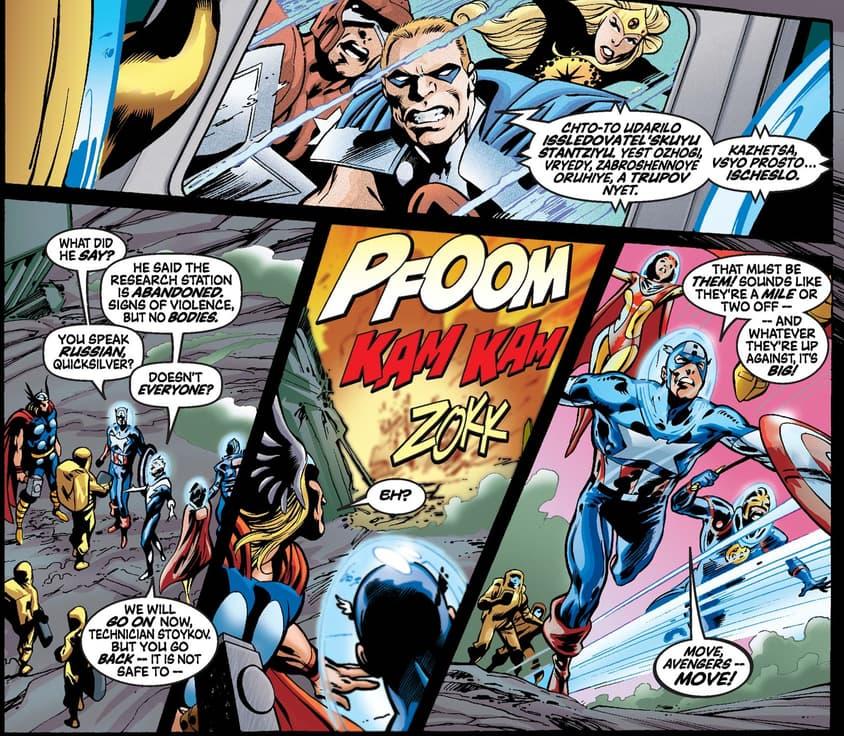 Pietro speaking Russian in AVENGERS (1998) #42.