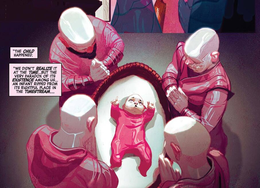 The Priests of Pama monitor Baby Kang in AVENGERS (2016) #3.