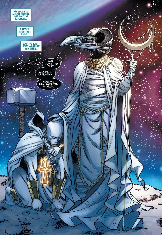 Khonshu blesses his Knight in AVENGERS (2018) #33.