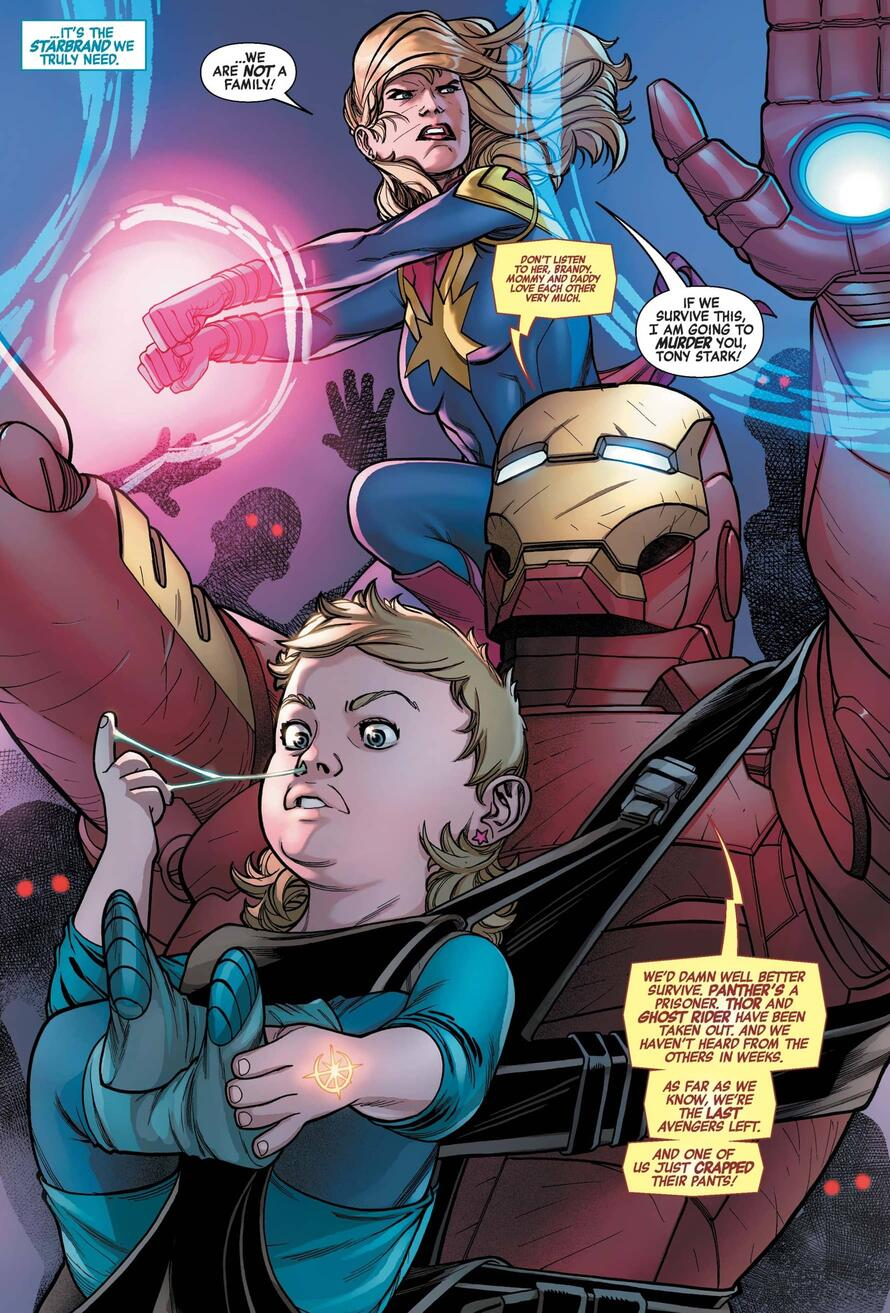 The Starbrand baby carried by Iron Man and Captain Marvel.