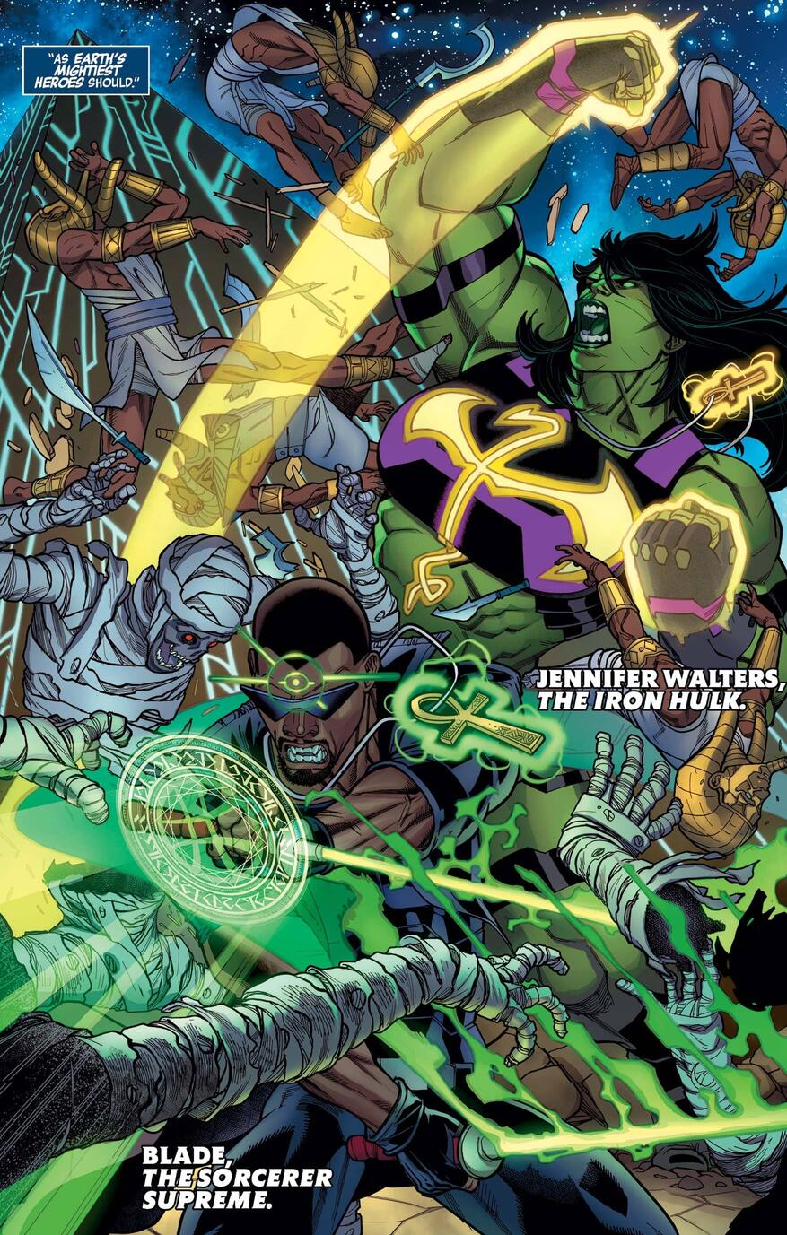 Blade as the Sorcerer Supreme with She-Hulk as Iron Fist.
