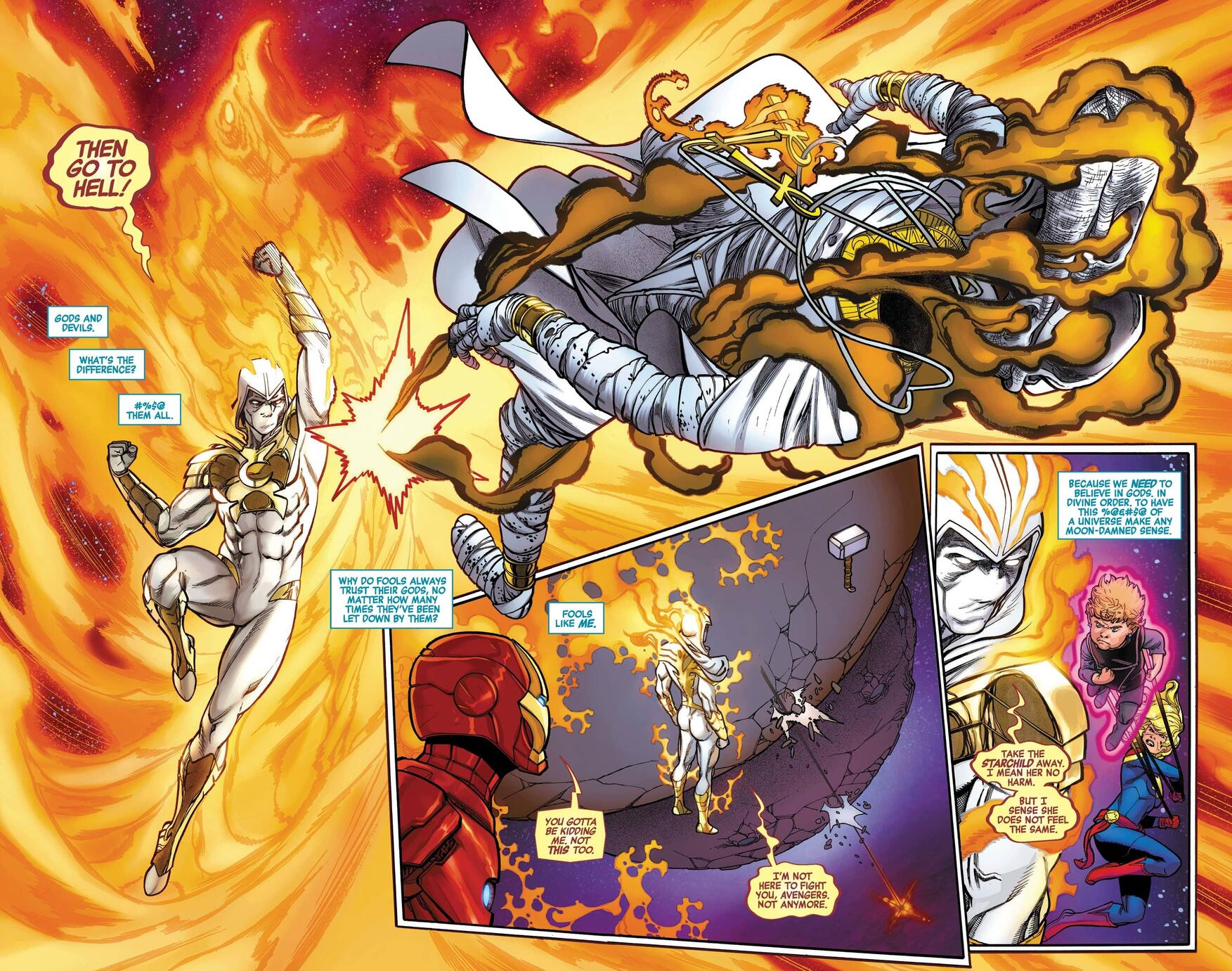 Moon Knight punches Khonshu with the power of the Phoenix.