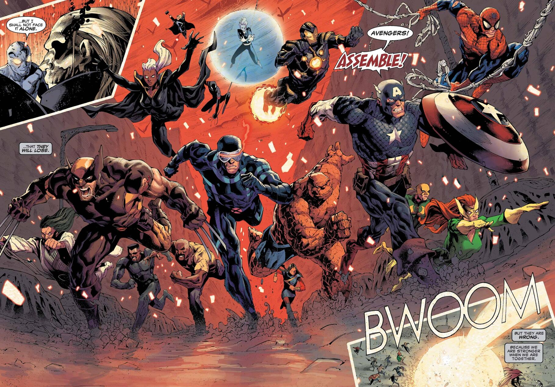 Avengers and X-Men face Knull head-on.