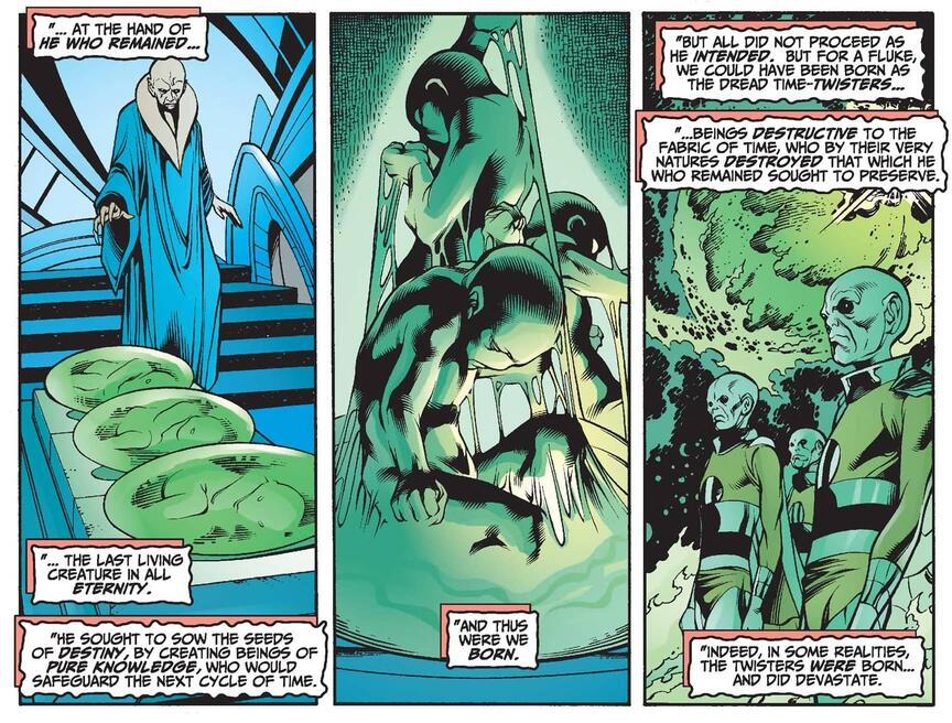 He Who Remains creates the Time-Keepers in AVENGERS FOREVER (1998) #10.