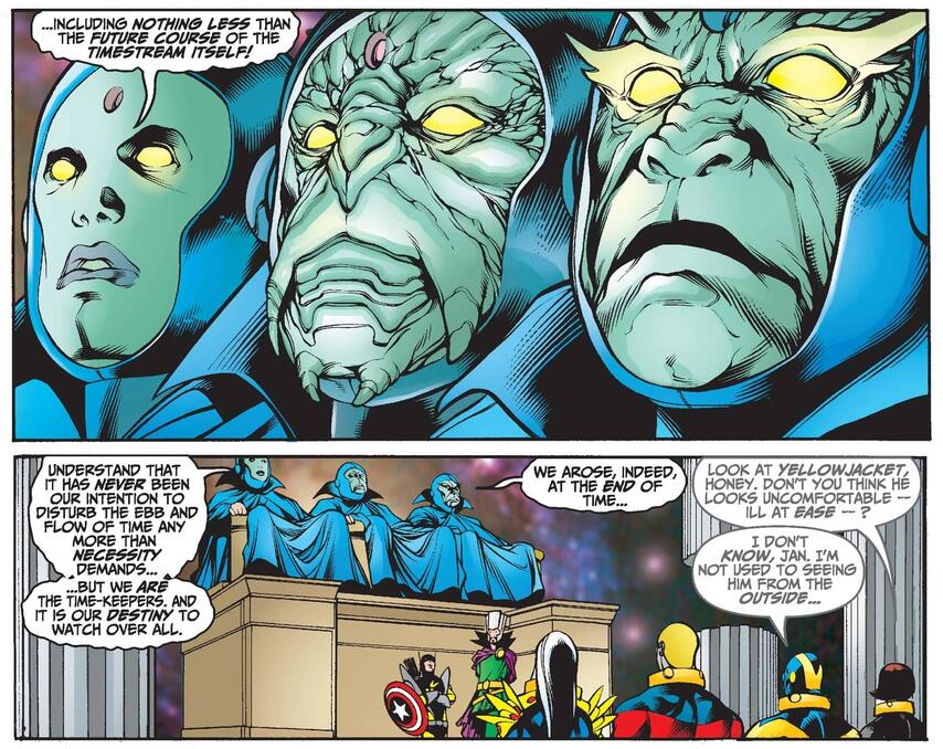 The Time-Keepers hold council and introduce themselves in AVENGERS FOREVER (1998) #10.
