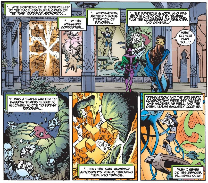 Kang reveals his plot to use Alioth to undermine the Time Variance Authority.