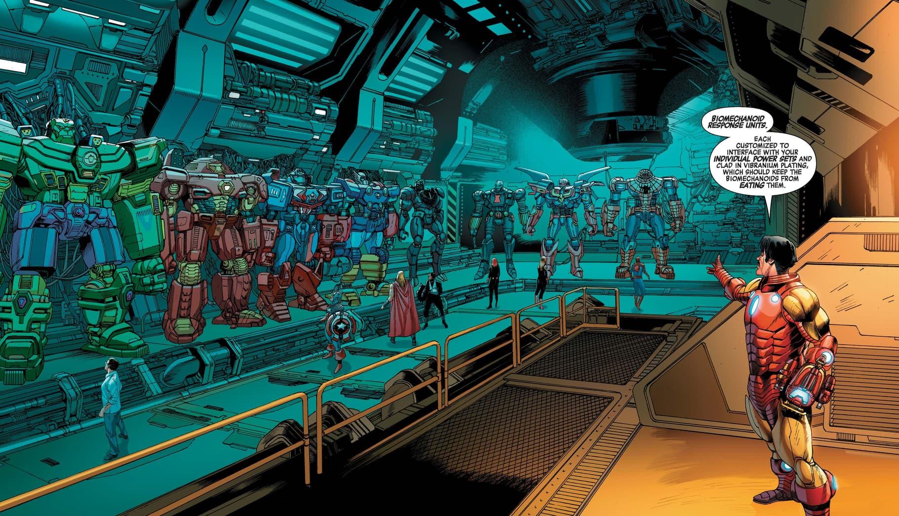Tony Stark reveals the mech suit arsenal.