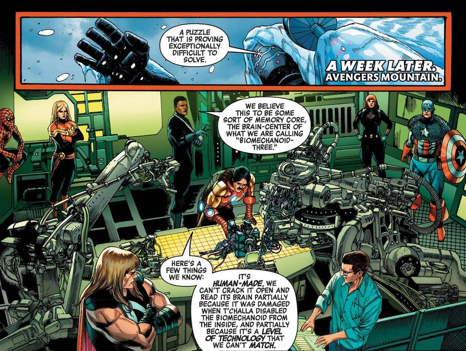 The Avengers analyze the origins of the monster.