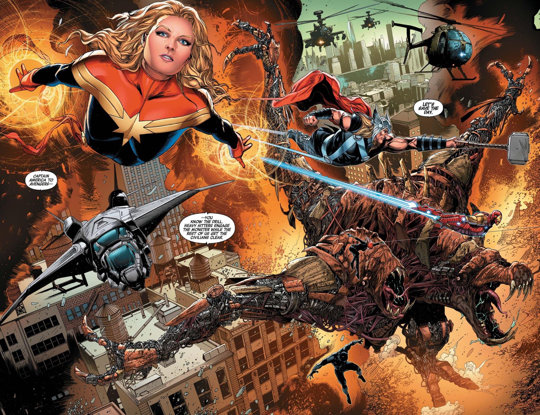 Avengers assemble against a biomechanoid menace.