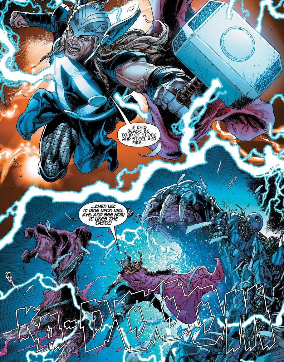Thor and Mjolnir versus a monstrous threat!