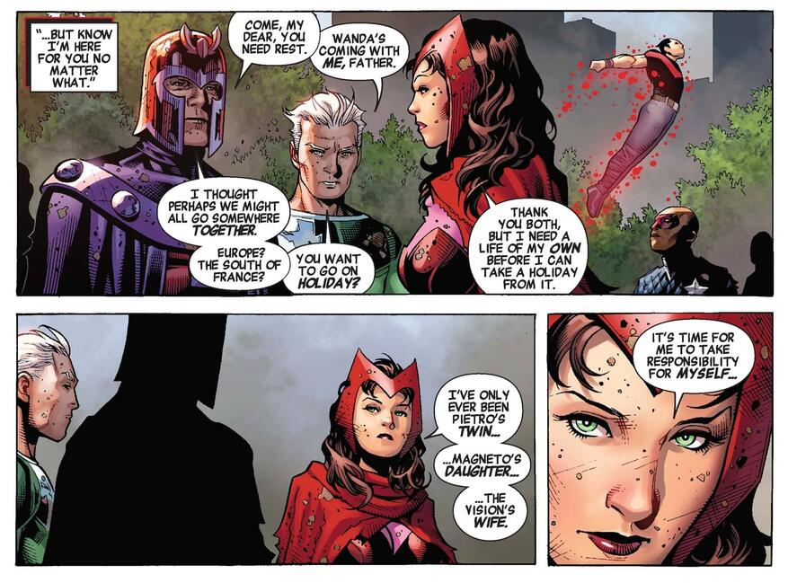 Magneto asks Wanda if she needs a vacation in AVENGERS: THE CHILDREN'S CRUSADE (2010) #9.