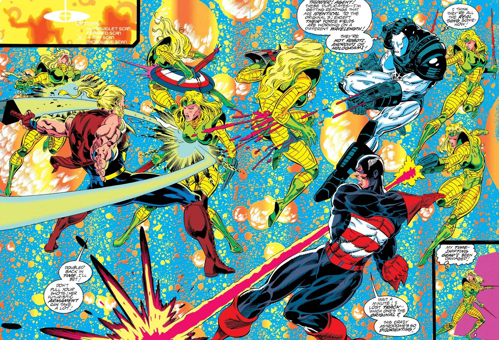 Ravonna fights the Avenger with time duplicates in AVENGERS: THE TERMINATRIX OBJECTIVE (1993) #1.