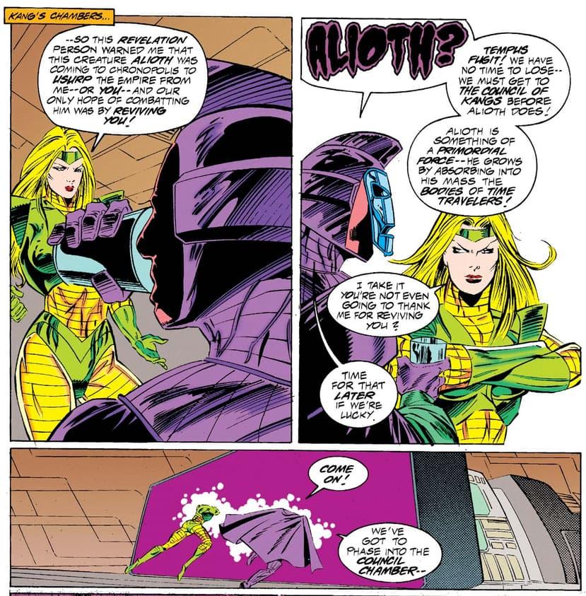 Kang tells Terminatrix why Alioth must perish.