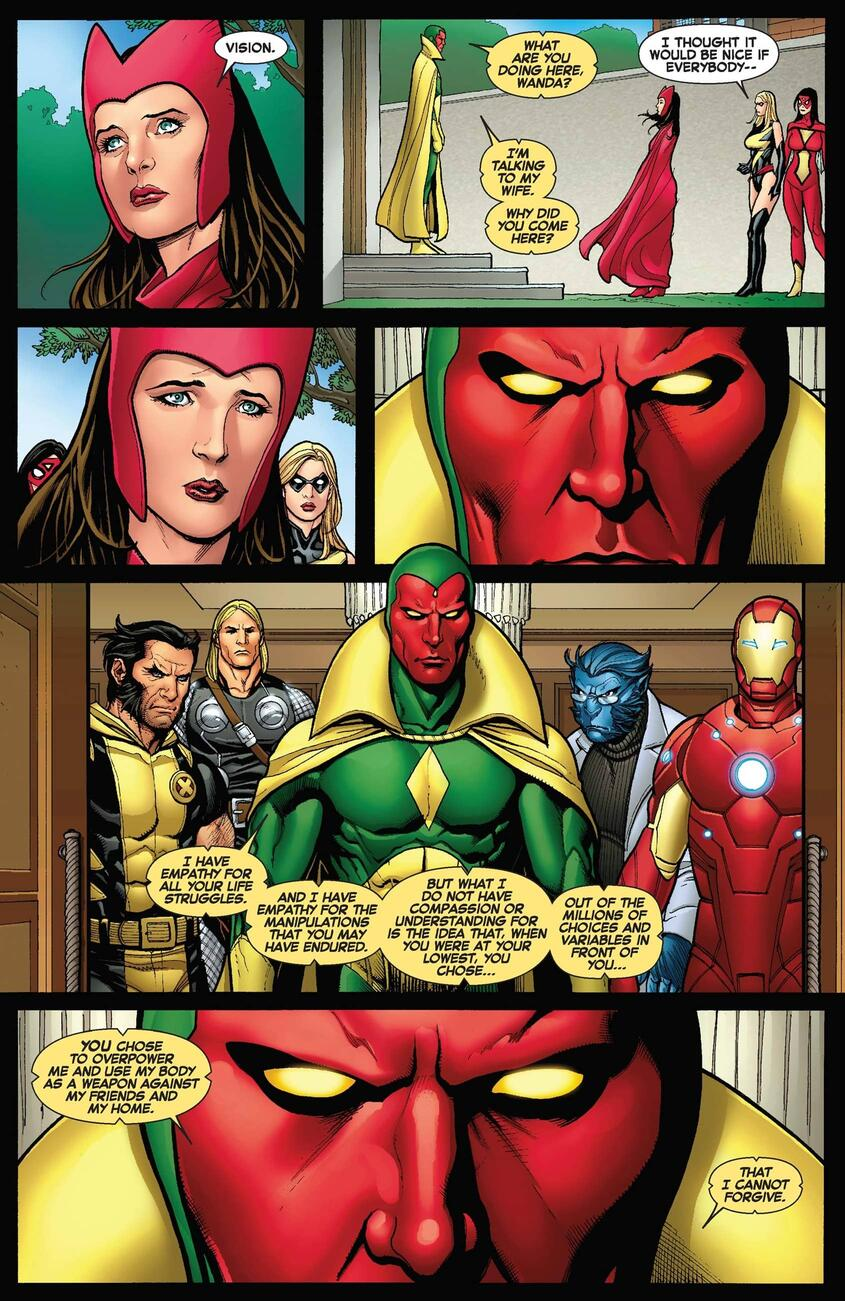 Vision confronts Wanda about their past.