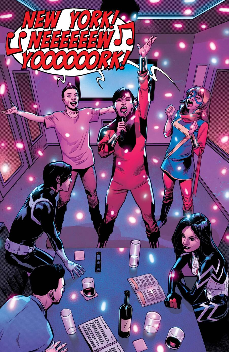 Shang-Chi and Ms. Marvel singing karaoke!