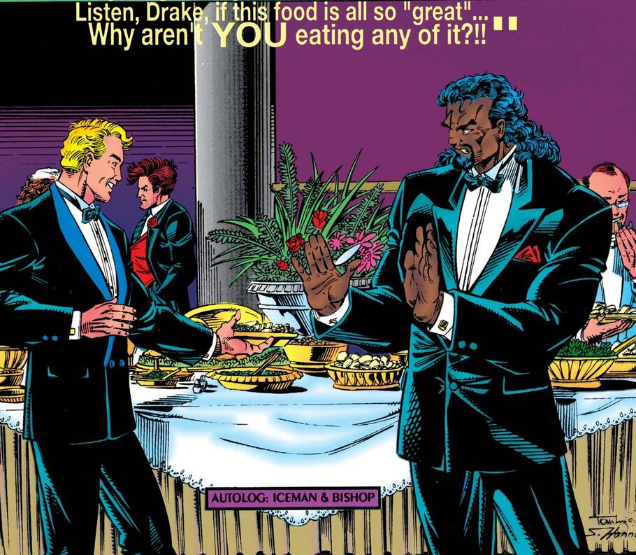 Bishop questions the reception's buffet in X-MEN: THE WEDDING ALBUM (1994) #1.
