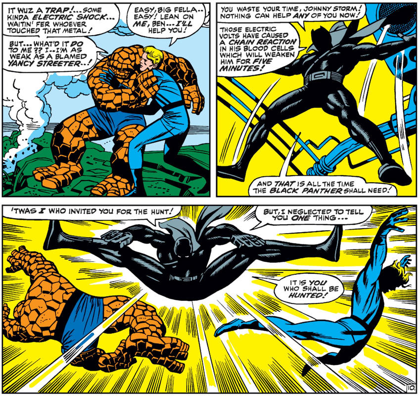 Black Panther fights the Fantastic Four