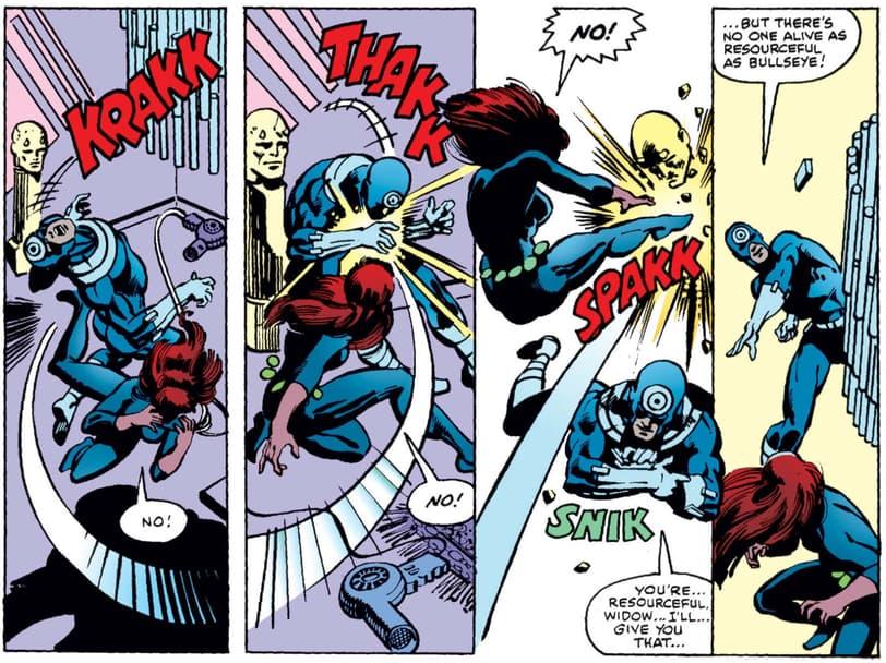 Black Widow fighting Bullseye