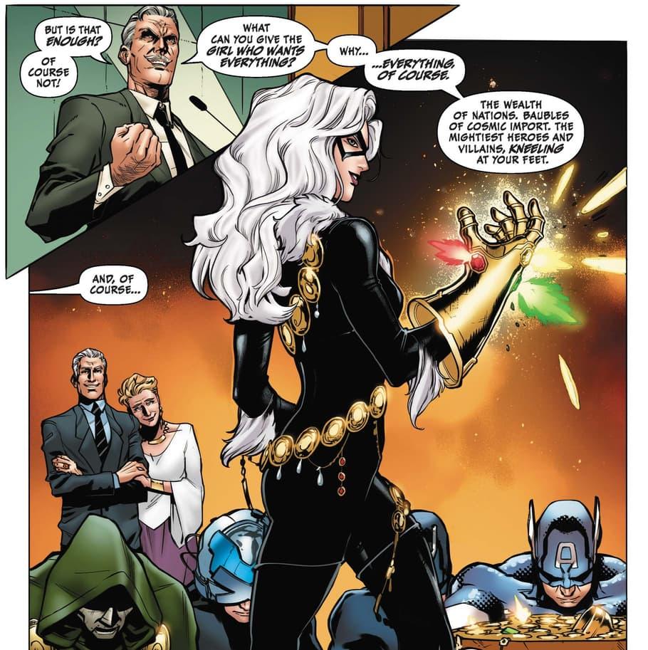 Black Cat with the Infinity Gauntlet as heroes look on.